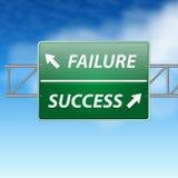 Het Concept van de Verkeersteken van het succes en van de Mislukking op blauwe hemel Royalty-vrije Stock Fotografie