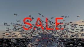 Het concept van de verkoop - hand met vergrootglas Word Verkoop op digitale wolk en hemel als achtergrond 3d geef terug vector illustratie