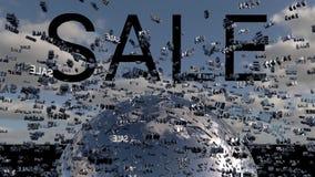 Het concept van de verkoop - hand met vergrootglas Word Verkoop op digitale wolk en hemel als achtergrond 3d geef terug royalty-vrije illustratie