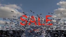 Het concept van de verkoop - hand met vergrootglas Word Verkoop op digitale wolk en hemel als achtergrond 3d geef terug stock illustratie