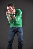 Het concept van de verkoop, mens die gebaren met zijn handen toont Royalty-vrije Stock Foto