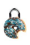 Het Concept van de verleiding/van het Dieet met Doughnut als Hangslot Stock Foto