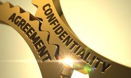 Het Concept van de vertrouwelijkheidsovereenkomst Gouden radertjetoestellen 3d Stock Afbeeldingen
