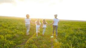 Het concept van de vriendschap Jonge gelukkige vrouwen met hun dochters die over het gebied bij zonsondergang lopen stock video