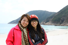 Het concept van de vriendschap voor altijd door Aziatische meisjes royalty-vrije stock afbeeldingen