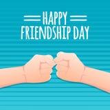 Het concept van de vriendschapsdag de vuist overhandigt voorraad vectorillustratie het ontwerp van de groetkaart voor gelukkige v royalty-vrije illustratie