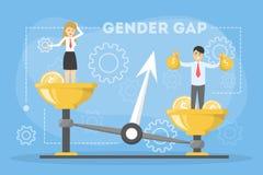 Het concept van de het Webbanner van het geslachtshiaat Idee van verschillend salaris stock illustratie