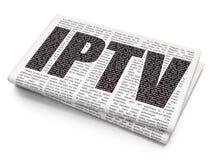 Het concept van de Webontwikkeling: IPTV op Krantenachtergrond Royalty-vrije Stock Foto