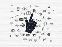 Het concept van de Webontwikkeling: Muiscurseur op muur Royalty-vrije Stock Afbeelding