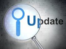 Het concept van de Webontwikkeling: Onderzoek en Update met optisch glas Stock Foto