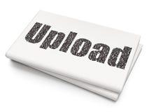 Het concept van de Webontwikkeling: Upload op Lege Krantenachtergrond Royalty-vrije Stock Foto