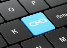 Het concept van de Webontwikkeling: Verbinding op de achtergrond van het computertoetsenbord Stock Fotografie