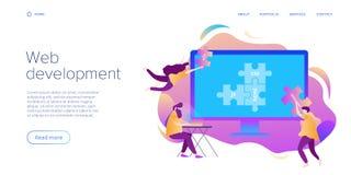 Het concept van de Webontwikkeling in vlak ontwerp Ontwikkelaars of ontwerpers die bij Internet app of de online dienst werken r stock illustratie