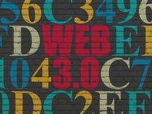 Het concept van de Webontwikkeling: Web 3 0 op muur Stock Fotografie