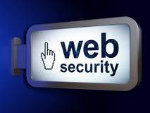 Het concept van de Webontwikkeling: Webveiligheid en Muiscurseur op aanplakbordachtergrond Royalty-vrije Stock Afbeelding