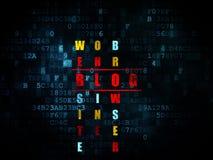 Het concept van de Webontwikkeling: woordblog in het oplossen Stock Foto