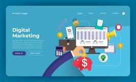 Het concept van het de website vlakke ontwerp van het modelontwerp digitale marketing Ve royalty-vrije illustratie