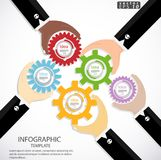Het concept van de Weerslagideeën van de zakenmancontrole om moderne malplaatje van Infographic van de bedrijfssucces het Vectori Stock Foto's