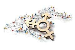 Het concept van de wereldlgbt LGBTI verbinding Transsexueelsymbool op wereldkaart stock foto's