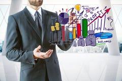 Het concept van de winst De tekens van de calculator en van de dollar Stock Afbeelding