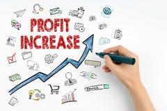 Het Concept van de winstverhoging Hand met teller het schrijven royalty-vrije stock afbeelding