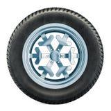 Het concept van de de winterband Autowiel met de winter beslagen sneeuwband 3d stock illustratie