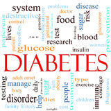 Het Concept van de Wolk van Word van de diabetes Stock Afbeeldingen
