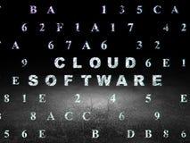 Het concept van de wolkentechnologie: Wolkensoftware in grunge Royalty-vrije Stock Afbeeldingen