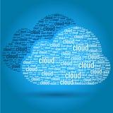 Het Concept van de Woorden van de Gegevensverwerking van de wolk Stock Afbeelding