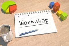 Het concept van de workshoptekst Stock Fotografie