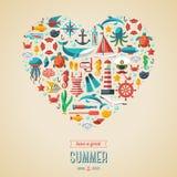 Het concept van de zomer De vlakke pictogrammen schikken in de vorm van Royalty-vrije Stock Fotografie