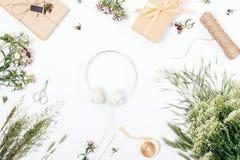 Het concept van de de zomermuziek: vlak leg regeling met hoofdtelefoons Royalty-vrije Stock Afbeeldingen