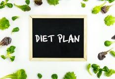 Het concept van het dieetplan Plantaardige achtergrond Spinazie, sla, rucola en bord op wit stock afbeeldingen
