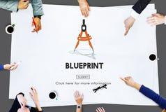 Het Concept van Dimensions Project Drafting van de blauwdrukarchitect Stock Afbeelding