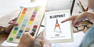 Het Concept van Dimensions Project Drafting van de blauwdrukarchitect stock fotografie