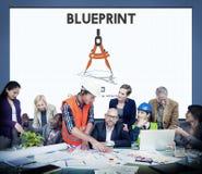 Het Concept van Dimensions Project Drafting van de blauwdrukarchitect royalty-vrije stock foto's