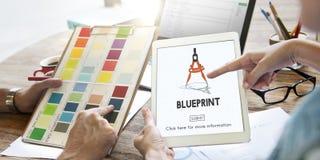 Het Concept van Dimensions Project Drafting van de blauwdrukarchitect royalty-vrije stock afbeeldingen