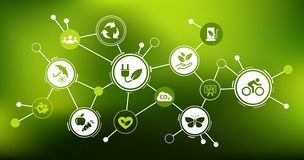 """Het concept van het duurzaamheidspictogram: duurzame energie, ecologie, milieubescherming †""""vectorillustratie stock illustratie"""