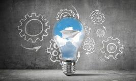 Het concept van Ecoinnovaties door middel van lightbulb Stock Afbeelding