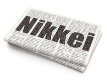 Het concept van effectenbeursindexen: Nikkei op Krantenachtergrond Stock Foto