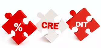 Het Concept van financiën met Puzzels in Rood & Wit vector illustratie