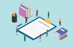 Het concept van het gebruikershandleidingboek met mensen en één of andere gids op het klembord met moderne stijl vlakke en isomet royalty-vrije illustratie