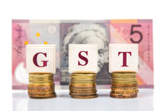 Het concept van GST of van het Goed en van de de Dienstenbelasting met stapel van muntstuk en munt als achtergrond Royalty-vrije Stock Foto's