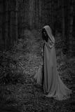 Het concept van Halloween Een heks in een zwarte robe royalty-vrije stock afbeelding