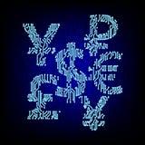 Het concept van het Cybergeld Van de muntsymbolen van de kringsraad de vectorillustratie Royalty-vrije Stock Foto's