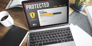 Het Concept van het de Beschermingsaftasten van de computerveiligheid Royalty-vrije Stock Foto's