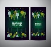 Het concept van het de kunstontwerp van het gloeilampenidee Brochure bedrijfsontwerpmalplaatje of broodje omhoog Stock Fotografie