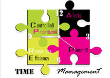 Het concept van het de tijdbeheer van de figuurzaagklok, Vectorillustratie, Stock Fotografie
