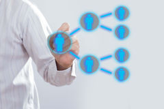 Het concept van het de Verwijzingssysteem van de zakenmantekening royalty-vrije stock afbeeldingen