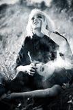 Het concept van het de vrouwenverdriet van Goth stock afbeeldingen